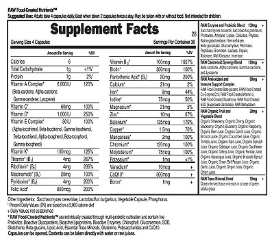 Vitamin Code Women's Formula Supplement Facts